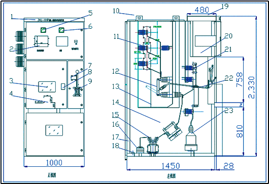 装置的结构,外形和安装尺寸  1,装置的柜体结构尺寸(长×宽×高)(可